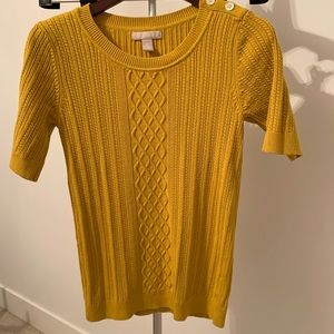 Banana Republic Mustard Yellow Knit Short Sleeve